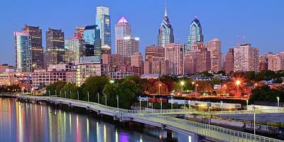 Evening Walk In Philly Poster by Frozen in Time Fine Art Photography