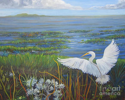 Everglades Egret Poster by Anne Marie Brown