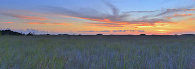 Poster featuring the photograph Everglades Sunset Panorama by Stephen  Vecchiotti