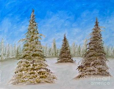 Evergreens In Snowy Field Enhanced Colors Poster