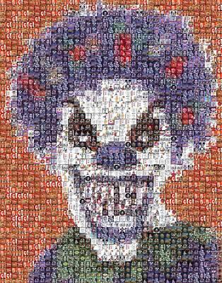 Poster featuring the mixed media Evil Clown Mosaic by Paul Van Scott
