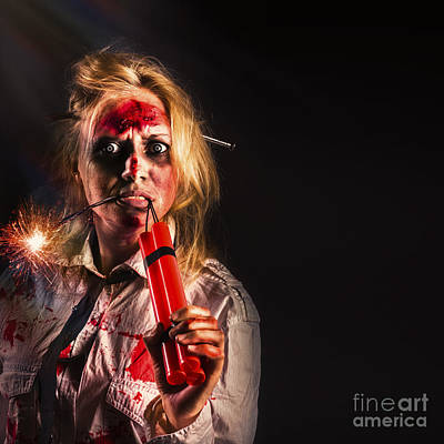 Evil Female Halloween Zombie Holding Bomb Poster by Jorgo Photography - Wall Art Gallery