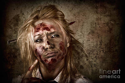 Evil Grunge Zombie Business Woman Thinking Idea Poster by Jorgo Photography - Wall Art Gallery