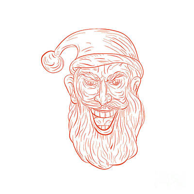 Evil Santa Claus Head Drawing Poster