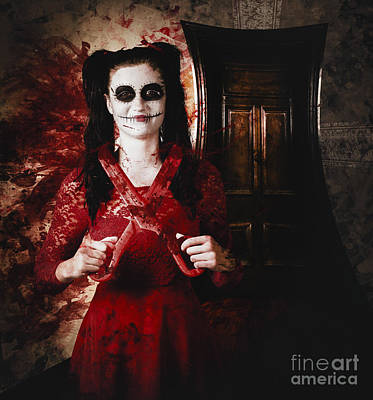 Evil Skeleton Girl With Blood Stained Scissors Poster by Jorgo Photography - Wall Art Gallery