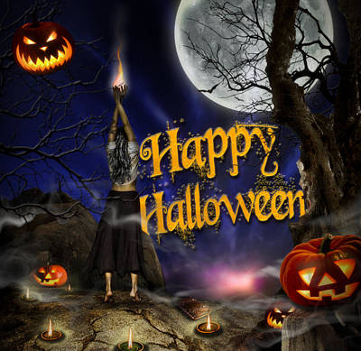 Evocation In Halloween Night Greeting Card Poster