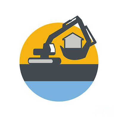Excavator Digger Handling House Circle Retro Poster