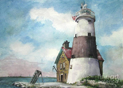 Poster featuring the painting Execution Rocks Lighthouse by Susan Herbst