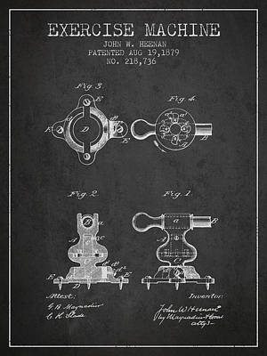 Exercise Machine Patent From 1879 - Charcoal Poster