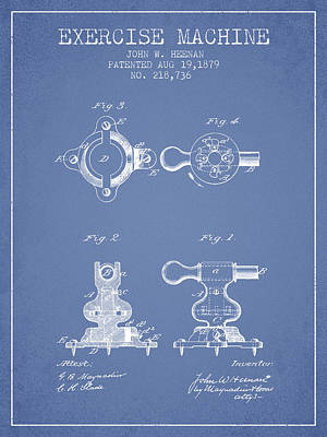 Exercise Machine Patent From 1879 - Light Blue Poster