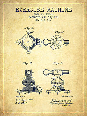 Exercise Machine Patent From 1879 - Vintage Poster