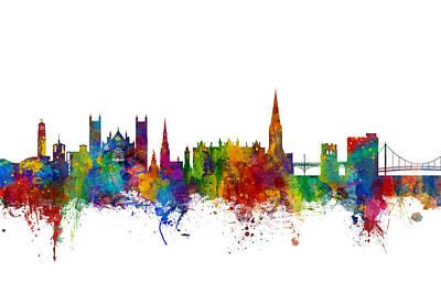 Exeter England Skyline Poster by Michael Tompsett