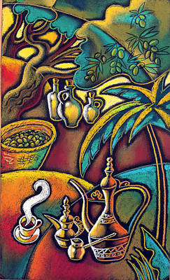 Exotic East, Coffee And Olive Oil Poster by Leon Zernitsky
