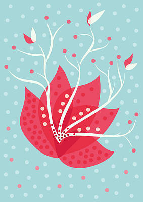 Exotic Pink Flower And Dots Poster
