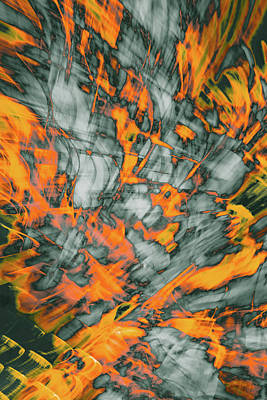 Exploded Fall Leaf Abstract Poster
