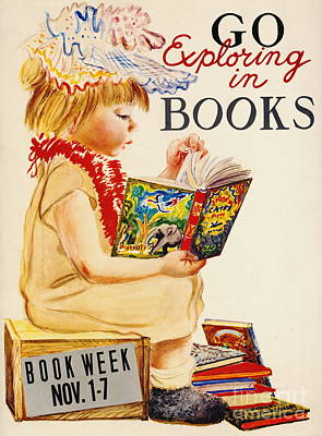 Poster featuring the photograph Exploring Books 1961 by Padre Art