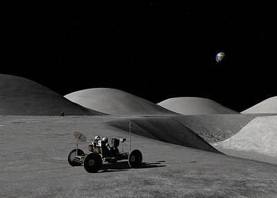 Poster featuring the digital art Exploring Hadley Rille by David Robinson
