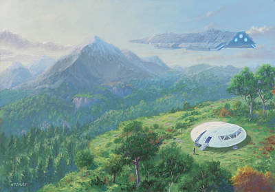 Exploring New Landscape Spaceship Poster