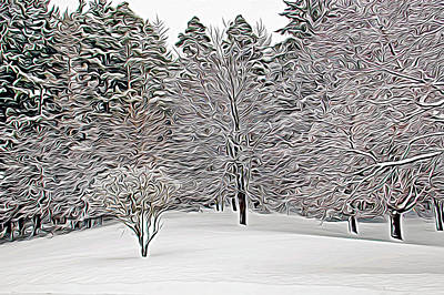 Expressionalism Fresh Snow Scene Poster