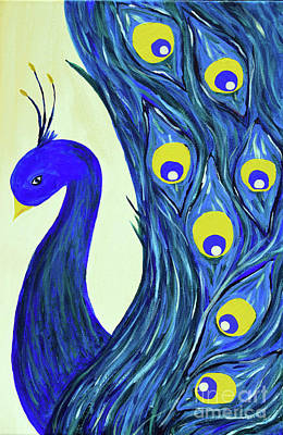 Poster featuring the painting Expressive Brilliant Peacock B71117 by Mas Art Studio