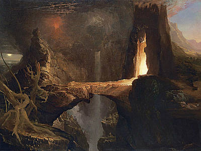 Expulsion Moon And Firelight Poster by Thomas Cole