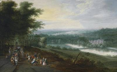 Extensive River Landscape With Travelers And Dancing Peasants On A Path Poster