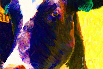 Eye Of Cow 783 . Photoart Poster by Wingsdomain Art and Photography