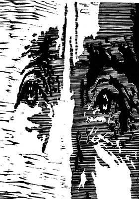 Eyes No. 2 --  Hand-pulled Linoleum Cut Poster by Lynn Evenson