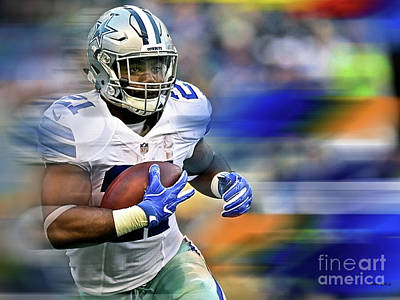 Ezekiel Elliot, Number 21, Running Back, Dallas Cowboys Poster