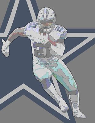 Ezekiel Elliott Dallas Cowboys Contour Art Poster