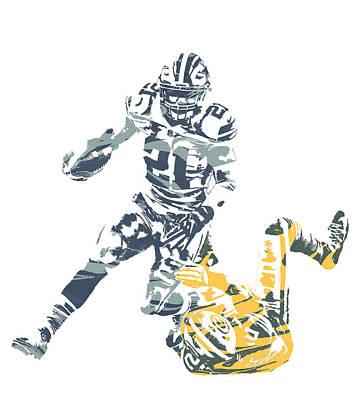 Ezekiel Elliott Dallas Cowboys Green Bat Packers  Pixel Art Poster