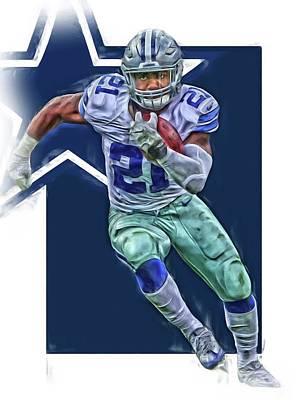 Ezekiel Elliott Dallas Cowboys Oil Art Series 3 Poster