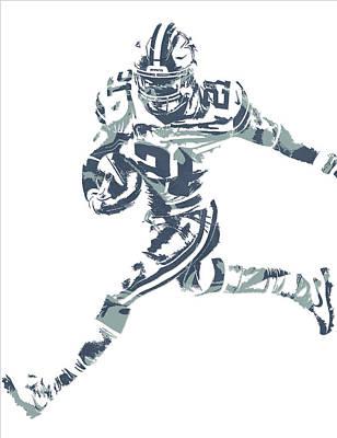 Ezekiel Elliott Dallas Cowboys Pixel Art 26 Poster