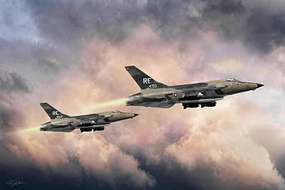 Poster featuring the digital art F-105 Thunderchief by Peter Chilelli