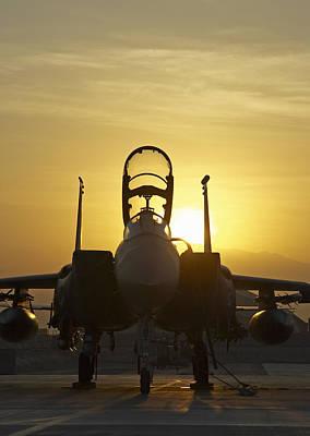 F-15e Sunrise Portrait Poster by Tim Grams