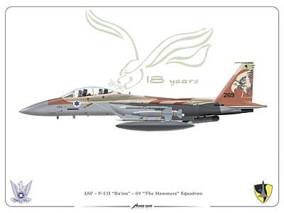 Poster featuring the drawing Israeli Air Force F 15i Ra'am by Amos Dor