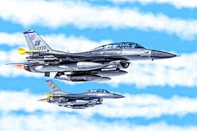 F-16 Fighting Falcons In Flight Poster