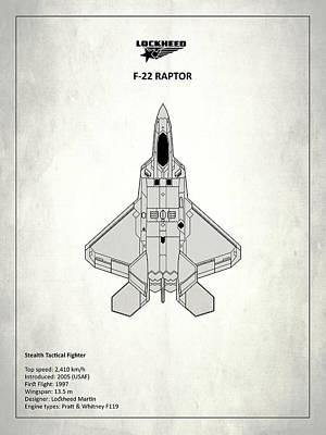 F-22 Raptor - White Poster