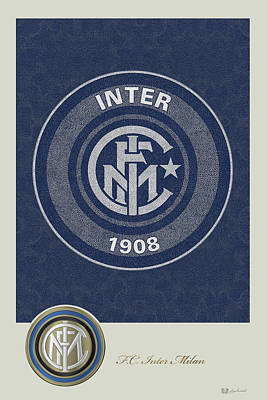 F. C. Inter Milan - New 3 D Badge Over Vintage Logo Poster by Serge Averbukh