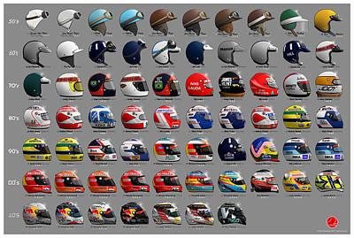 F1 World Champions' Helmets Poster by Last Corner