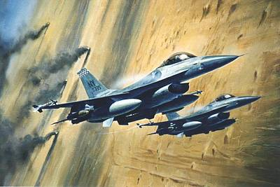 'f16 Desert Storm' Poster by Colin Parker