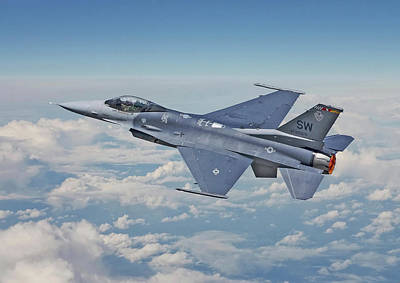 Poster featuring the digital art F16 - Fighting Falcon by Pat Speirs