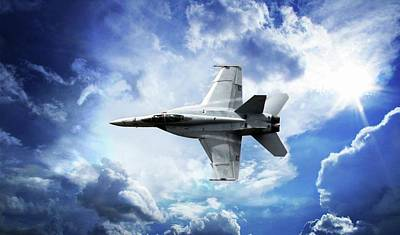 Poster featuring the photograph F18 Fighter Jet by Aaron Berg