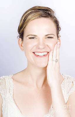 Face Of A Smiling Bride With Perfect Makeup Poster