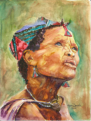 Poster featuring the painting Faces Of Africa by P Maure Bausch