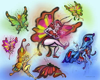 Poster featuring the painting Faeries by Kevin Middleton