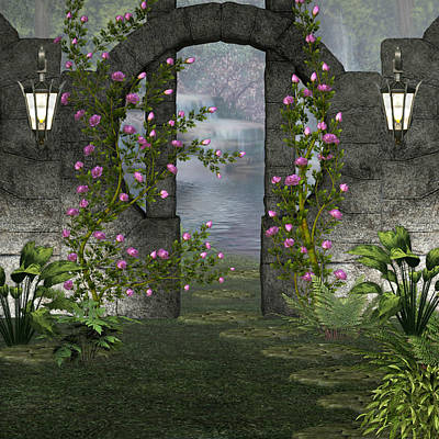 Poster featuring the digital art Fairies Door by Digital Art Cafe