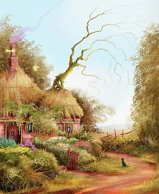 Fairy Chase Cottage Poster