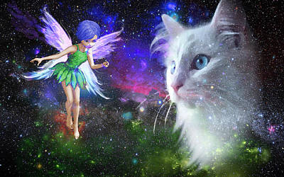 Fairy Encounters Cat  Poster