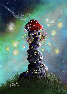 Fairy Paintings - Home For The Night Poster by Shawna Erback